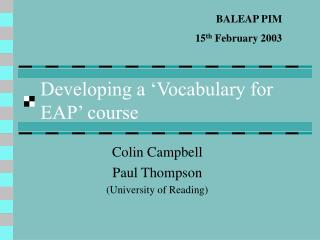 developing a  vocabulary for eap  course