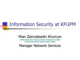Information Security at KFUPM