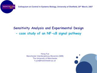 Sensitivity Analysis and Experimental Design - case study of an NF-kB signal pathway