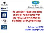 The Specialist Regional Bodies and their relationship with the APEC Subcommittee on Standards and Conformance