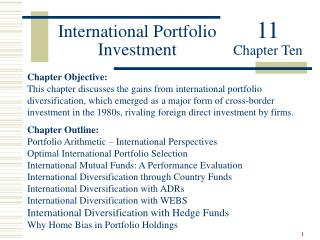 International Portfolio Investment Chapter Objective: