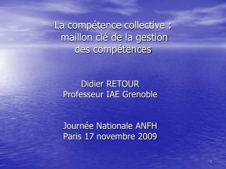La comp tence collective :  maillon cl  de la gestion des comp tences
