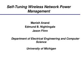 Self-Tuning Wireless Network Power Management
