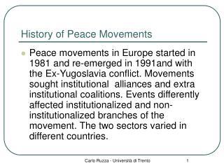 History of Peace Movements