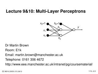 Lecture 910: Multi-Layer Perceptrons