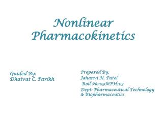 Nonlinear Pharmacokinetics