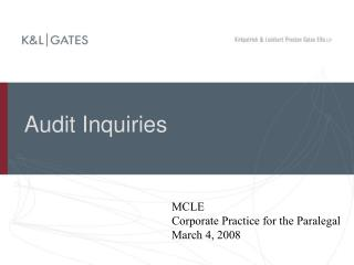audit inquiries