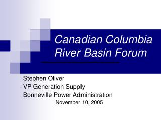 Canadian Columbia River Basin Forum