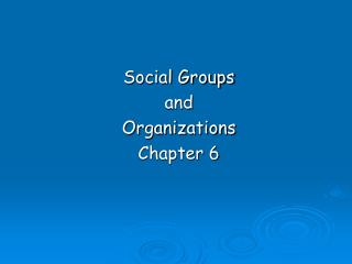 Social Groups  and  Organizations Chapter 6