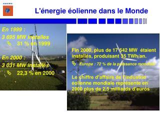 En 1999 :  3 695 MW install s 31  en 1999  En 2000 :  3 031 MW install s  22,3  en 2000