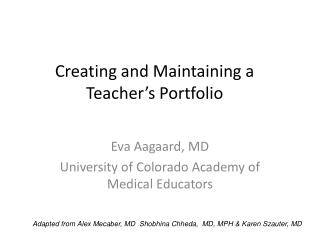 Creating and Maintaining a Teacher s Portfolio