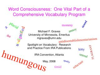 word consciousness:  one vital part of a comprehensive vocabulary program
