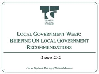 Local Government Week: Briefing On Local Government Recommendations