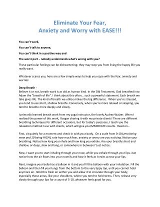 Eliminate Your Fear, Anxiety and Worry with EASE!!!