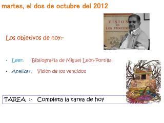 Martes, el dos de octubre del 2012