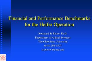 financial and performance benchmarks for the heifer operation