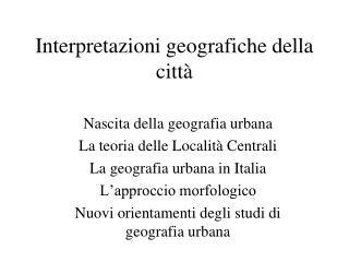 Interpretazioni geografiche della citt