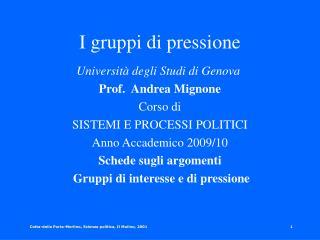 I gruppi di pressione