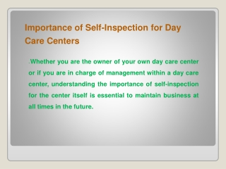 Importance of Self-Inspection for Day Care Centers