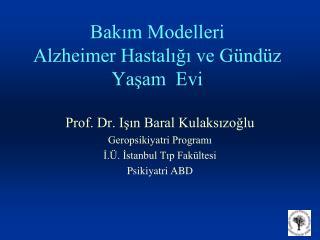 Bakim Modelleri Alzheimer Hastaligi ve G nd z Yasam  Evi