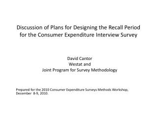 Discussion of Plans for Designing the Recall Period for the Consumer Expenditure Interview Survey