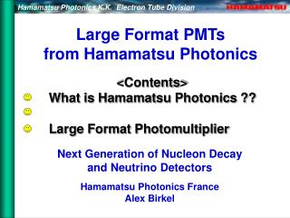 Large Format PMTs from Hamamatsu Photonics