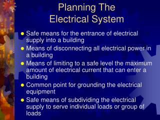 Planning The              Electrical System