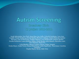 Autism Screening Broadway Clinic QI project 2011-2012