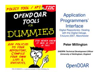 Application Programmers  Interface Digital Repositories: Dealing with the Digital Deluge, 5-6June 2007, Manchester