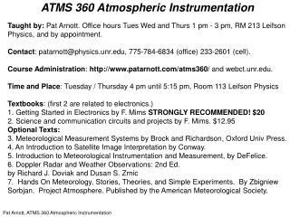 ATMS 360 Atmospheric Instrumentation