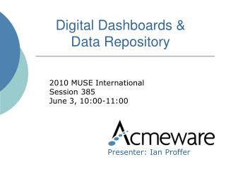 Digital Dashboards   Data Repository