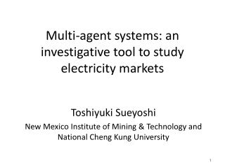 Multi-agent systems: an investigative tool to study electricity markets