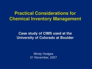 Practical Considerations for Chemical Inventory Management