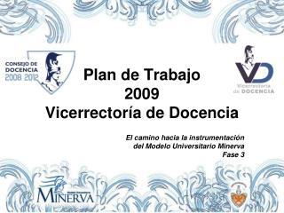 Plan de Trabajo  2009 Vicerrector a de Docencia