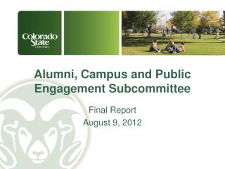 Alumni, Campus and Public Engagement Subcommittee