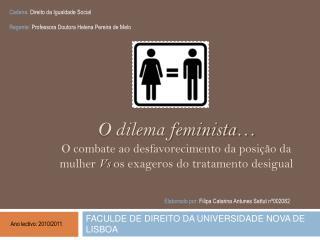 O dilema feminista  O combate ao desfavorecimento da posi  o da mulher Vs os exageros do tratamento desigual