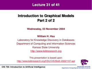 Introduction to Graphical Models Part 2 of 2