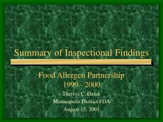 Summary of Inspectional Findings