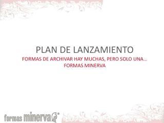 PLAN DE LANZAMIENTO FORMAS DE ARCHIVAR HAY MUCHAS, PERO SOLO UNA  FORMAS MINERVA
