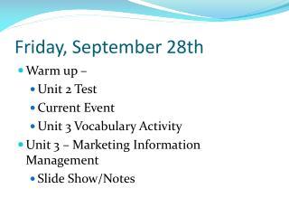 Friday, September 28th
