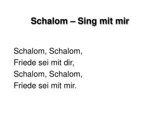 Schalom   Sing mit mir