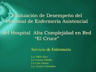 Servicio de Enfermer a  Lic. Mirta Seco Lic.Liliana Villalba Lic.Lida Alonso Lic. Gustavo Gonz lez