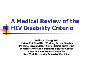 A Medical Review of the   HIV Disability Criteria