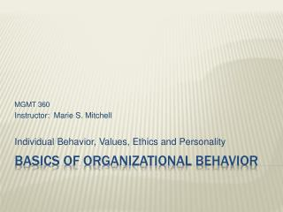 Basics of Organizational Behavior