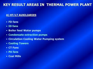 key result areas in  thermal power plant