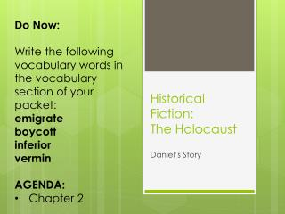 Historical Fiction: The Holocaust