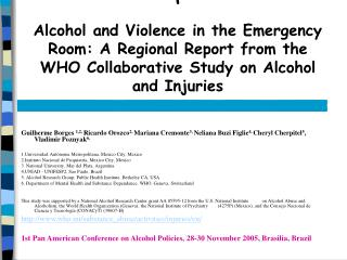 Alcohol and Violence in the Emergency Room: A Regional Report from the WHO Collaborative Study on Alcohol and Injuries