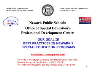Newark Public Schools  Office of Special Education s  Professional Development Center