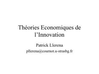 Th ories Economiques de l Innovation