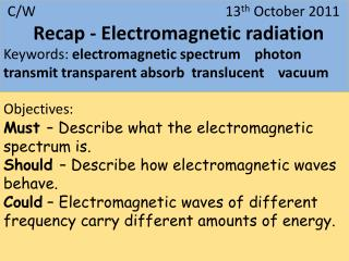 Keywords: electromagnetic spectrum    photon   transmit transparent absorb  translucent    vacuum